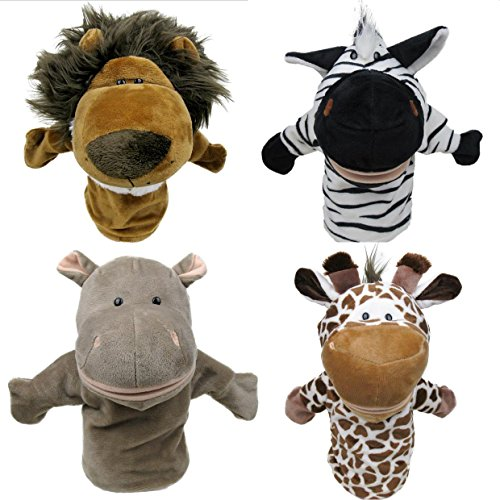 l Hand Puppets - 4-piece Safari Collection, with Movable Mouths, Easily Wearable for Adults and Children. Perfect for Storytelling and Imaginative Play. By (Childrens Hand Puppets)