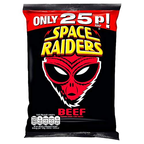 Space Raiders Saucy BBQ Flavour Corn Snacks 20g - Case of 40 (Price Marked) K P Snacks