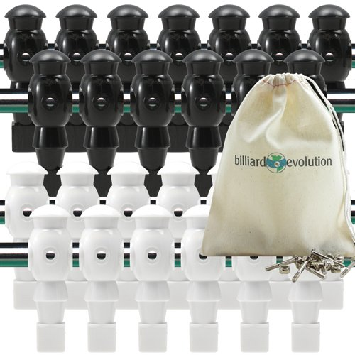 Billiard Evolution 26 White and Black Foosball Men with Free Screws and Nuts by Billiard Evolution