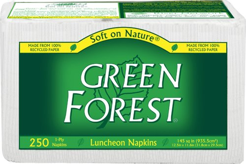 Green Forest 100% Recycled Luncheon Napkins, 250 count (Pack of 12)