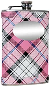 """Visol """"Valor"""" Plaid Stainless Steel Hip Flask, 8-Ounce, Pink"""