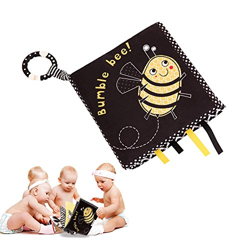 Bumble Bee Rattle - SUPOW Cloth Books for Babies Soft Non-Toxic Fabric, Washable Early Education Toys Activity Crinkle and BB Device Cloth Book for Toddler with Distorting Mirror (Bumble Bee)