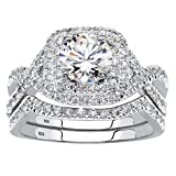 Platinum over Sterling Silver Round Cubic Zirconia 2 Piece Crossover Halo Bridal Ring Set Size 6