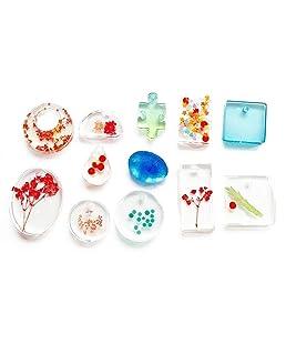 Soulitem 11pcs DIY Transparent Pendentif en Silicone Forme de Bijoux Outil Outil Outil de Bricolage Fait Main en Silicone
