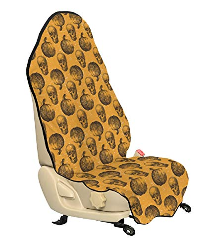 Lunarable Pumpkin Car Seat Cover, Halloween Themed Skulls Pumpkins Scary Holiday Celebrations Worn Image, Car Truck Seat Cover Protector Nonslip Backing Universal Fit, Pale Orange Black