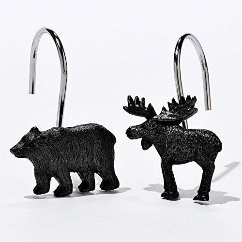DS BATH Woodland Black Bear Shower Curtain Hooks,Lodge Bathroom Curtain Hooks,Decorative Animal Hooks for shower curtains,Set of 12