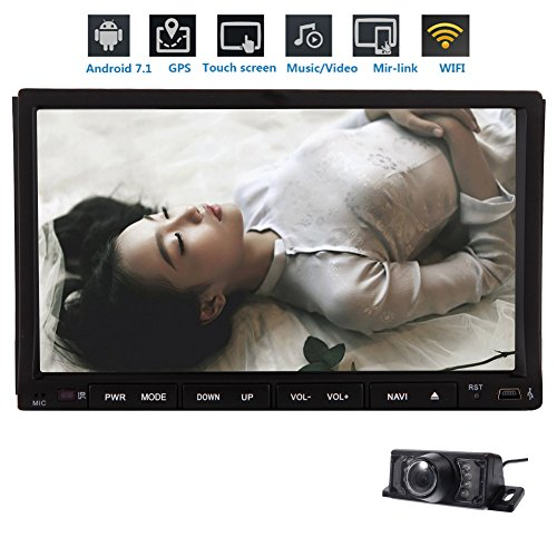 Free Rearview Camera + 7''inch 2GB 32GB Car Stereo Octa-core CPU Android 7.1 Double Din In Dash AM FM Radio Car Video with Bluetooth Wifi 4G GPS Navigation System Resolution: 1024600 by EinCar