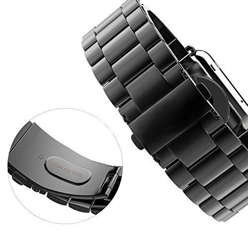 Apple Watch Band 42mm 38mm for Women Men, PUGO TOP Stainless Steel Metal Replacement Classic Strap Bands for iWatch Series 3 Series 2 Series 1 Sport Edition Women Men Space Gray Silver Gold Rose Gold