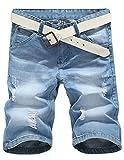 Cameinic Men's Classic Carpenter Short Summer Jeans Blue No Belt