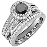 1.25 Carat (ctw) 14K White Gold White & Black Diamond Ladies Engagement Ring Set 1 1/4 CT (Size 6.5)