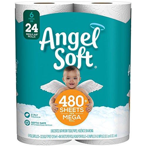 Angel Soft Toilet Paper, 6 Mega Rolls, 6 = 24 Regular Bath Tissue Rolls (Packaging May Vary)