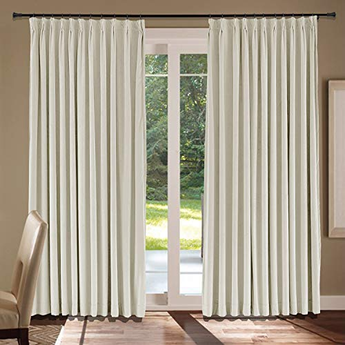 (cololeaf Velvet Curtains - Soft Soundproof Luxury Velvet Drapes Pinch Pleated Curtains Light Blocking Panels for Living Room Bedroom Party Backdrop, Ivory 72