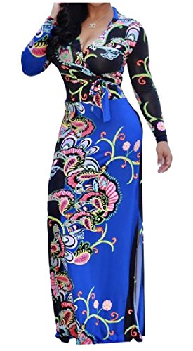 Sleeve Maxi African Long Coolred Slit Lacing XL Side AS1 Dress Women's qwTB41Z