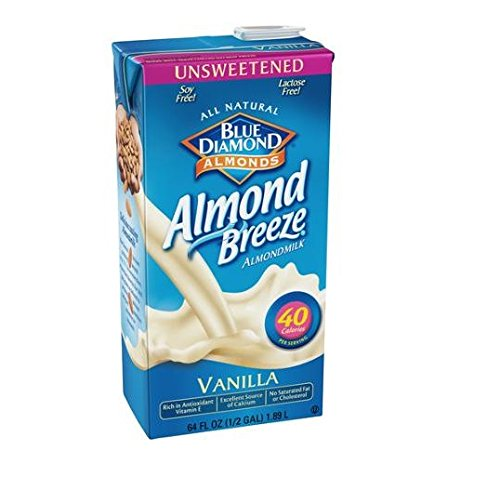 Blue Diamond Almonds Breeze Unsweetened Vanilla 64 Oz (Pack of 8)