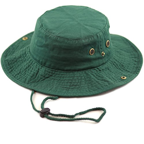 85cb60b50 THE HAT DEPOT 300N1510 Wide Brim Foldable Double-Sided Outdoor Boonie  Bucket Hat (L/XL, DarkGreen)