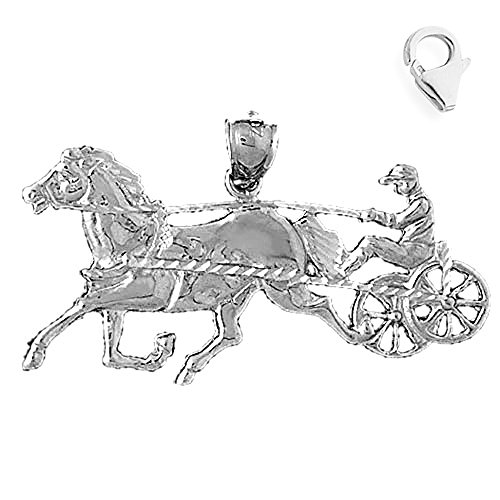 Jewels Obsession Horse & Carriage Charm | 14K White Gold Horse & Carriage Charm Pendant - 25mm