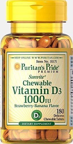 Puritan's Pride Chewable Vitamin D3 1000 IU-180 Tablets (Puritans Pride Chewable)