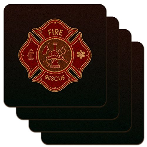 Maltese Coaster (Firefighter Fire Rescue Maltese Cross Low Profile Novelty Cork Coaster Set)
