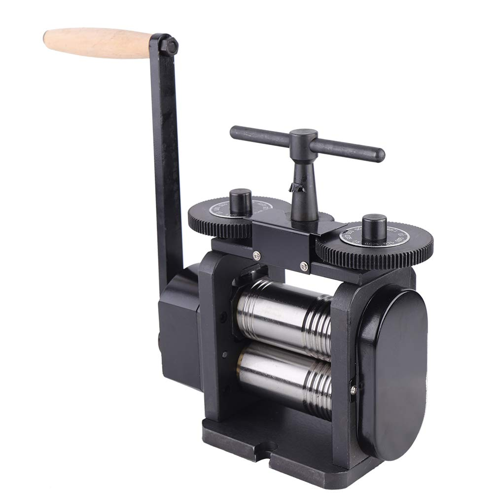 TFCFL Manual Combination Rolling Mill Machine110mm/130mm Wide 55mm/65mm Diameter Rollers, Maximum 4/5 mm Opening Jewelry DIY Tool Making Machine (130MM)
