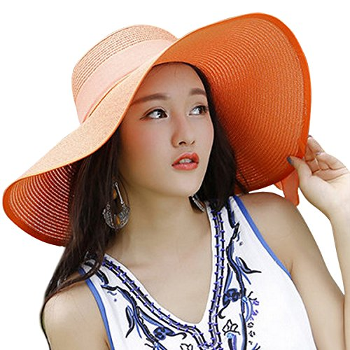 Lanzom Womens Big Bowknot Straw Hat Floppy Foldable Roll up Beach Cap Sun Hat UPF 50+ (Orange)