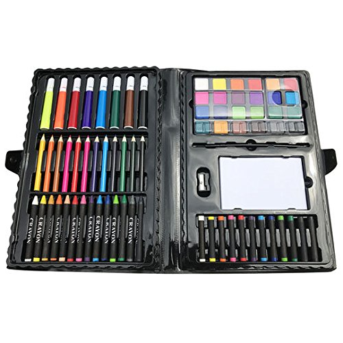 (100 Piece Kids Art Set. 12 color pencils 14 crayons 8 markers 24 watercolor paints 12 oil pastels 26-page drawing pad 1 paint palette 1 plastic brush 1 pencil sharpener 1 plastic storage case)