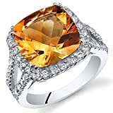 4.75 Carats Cushion Cut Citrine Ring Sterling Silver Sizes 5 to 9