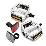 BeckBros Bike Pedals Aluminium Alloy Silver 1/2'' Fit Complete with Front and Rear Bicycle Reflectors Flat Non Slip Mountain Bicycle Pedals