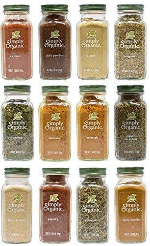 Christmas Simply Organic Herbs and Spice Variety Gift Set - Pack of 12 - Garlic, Ginger, Oregano, Parsley, Turmeric, Italian Seasoning, Rosemary Chili, Cayenne, Curry, Paprika