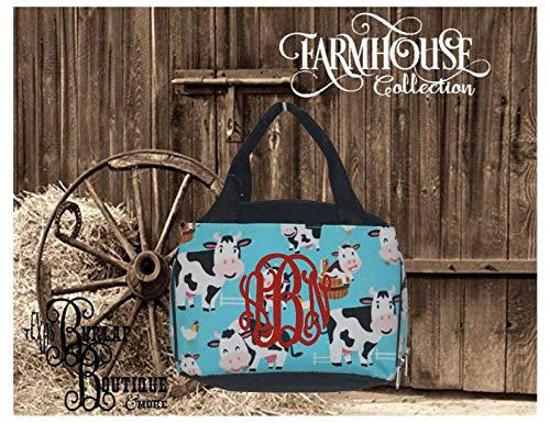 FREE Personalization ~ Farmhouse Collection ~ Cow ~ Cows ~ Heefers ~ Insulated Bowler Style Lunch Bag ~ Lunch Box ~ Farm Life ~Animal Print (Bowler Bag Canvas)