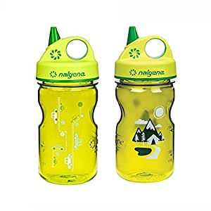 Nalgene Grip-N-Gulp Kids/Children's Tritan Water Bottles 12oz - 2 Bottle Combo Pack - 3 Inches in Diameter by 7.75 Inches Tall (12oz, Set of 2, Green Car and Green Trail)
