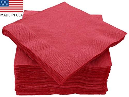 "(Amcrate Big Party Pack 125 Count Red Beverage Napkins - Ideal for Wedding, Party, Birthday, Dinner, Lunch, Cocktails. (5"" x 5""))"