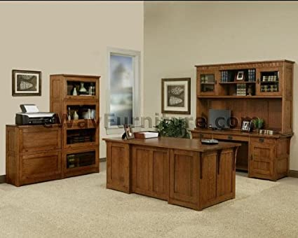 Beau 100% Solid Oak Wood Mission Home Office Executive Desk Furniture Made In  The USA