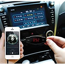 VersionTech Univeral LCD Display Bluetooth Wireless Car MP3 FM Transmitter Modulator Radio Adapter Handsfree Car Kit with Hands-Free Calling, Music Control, Mic, and Charging Port for iPhone 6 iPhone 6 Plus iPhone 5S 5 5C 4S 4 iPod Touch, iPad Mini 3 2 1, iPad Air 2, Samsung Galaxy Note 4 Note 3, Galaxy S5 S6 S4 Android Smart Cell phone, MP3 Players and Other Devices