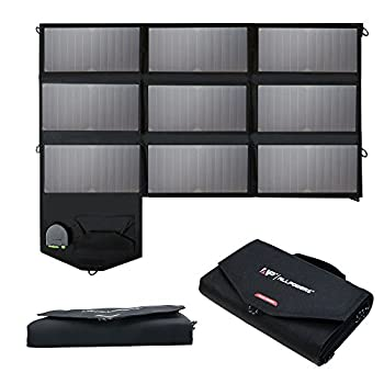 Image of Solar Battery Chargers & Charging Kits ALLPOWERS 60W Solar Panel Foldable SunPower Solar Charger (Dual 5V USB with iSolar Technology+18V DC Output) for Laptop, Tablet, ipad, iPhone, Samsung, Acer, Asus, Dell, HP,12V Car/Boat/RV Battery