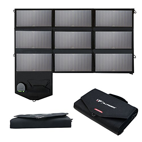 Solar Charger, ALLPOWERS 60W Foldable SunPower Solar Panel (Dual 5V USB with iSolar Technology+18V DC Output) for Laptop, ipad, Smartphone, iphone, Samsung, and 12V Car, Boat, RV Battery