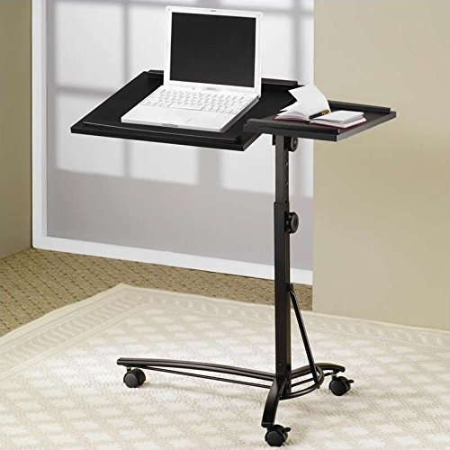 Bowery Hill Desks Adjustable Mobile Laptop Stand in Black