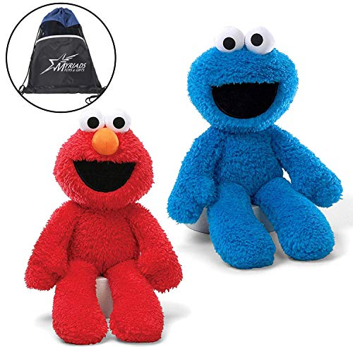 "GUND Sesame Street Take Along Elmo and Cookie Monster Stuffed Animal 12"" Plush with Cotton Drawstring Bag,"