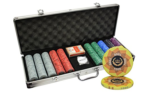 MRC 500pcs Laurel Crown Ceramic Poker Chips Set with Aluminum Case by Mrc Poker