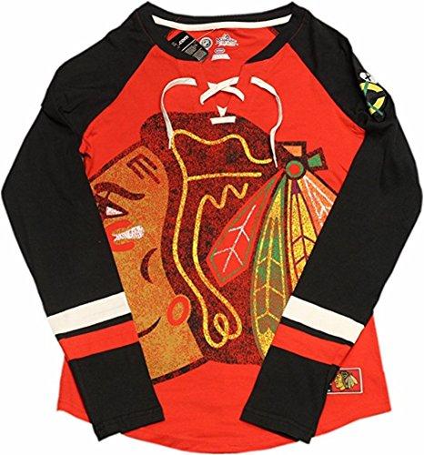 Blackhawk Check (Chicago Blackhawks Ladies T-Shirt Long Sleeve Hip Check 12617 (X-Large))