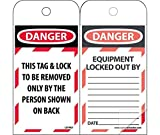 LOTAG1SL150 Polytag National Marker Self Laminating Tags, Lockout, Danger This Tag Lock to Be Removed Only, 6 Inches x 3 Inches, Polytag, Box of 150