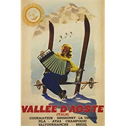 "VALLEE D'AOSTA ITALY AOSTA VALLEY DOWNHILL SKIING ITALIAN GIRL PLAYING ACCORDION SKI 20"" X 30"" VINTAGE POSTER REPRO"