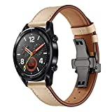 Black Butterfly Buckle Replacement Leather Watch Bands, Quick Release Watch Strap for Huawei GT Watch 22mm (Beige)
