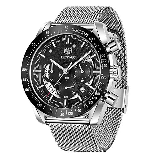 Mens Waterproof Chronograph Analog Watch-BENYAR Luxury Business Dress Watch Perfect for Birthday Gift for Men
