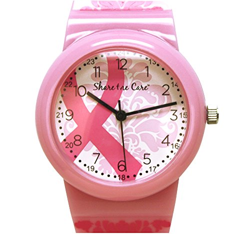 Pink Ribbon Damask Printed Jelly Watch