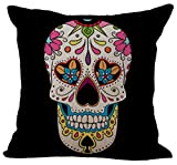 Indian Skull Stuffed Cushion ChezMax Cotton Linen Throw Pillow Insert Square For Living Family Bed Dinning Drawing Room Decorative
