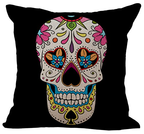 Indian Skull Stuffed Cushion ChezMax Cotton Linen Throw Pillow Insert Square For Living Family Bed Dinning Drawing Room Decorative by ChezMax
