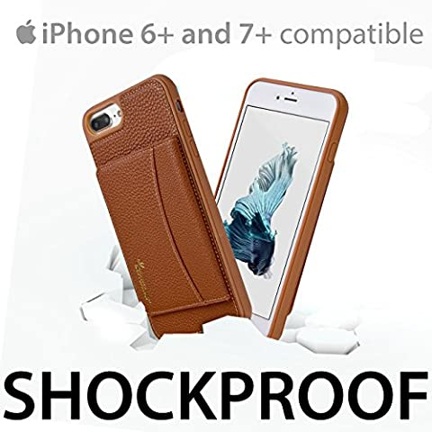 iSkipper iPhone Wallet Protective Case  Stand able Shockproof Hybrid Cover   Combined PC & TPU   PU Back Leather   RFID Protection Technology   For iPhone 6 Plus & 7 Plus   Multiple Credit Cards (Platinum Brand Iphone 6 Plus Case)