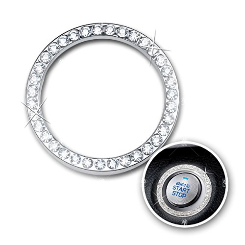 VaygWay Bling Car Decor Emblem Sticker Crystal Rhinestone, Bling Car Accessories for Auto Start Engine Ignition Button Key & Knobs, Gift for Women (Silver) Bling for Car Interior