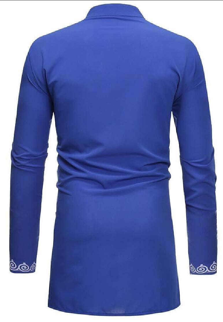 WSPLYSPJY Mens African Print Shirt Casual Dashiki Long Sleeve Button Down Shirt