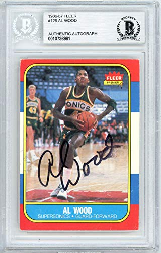 - Al Wood Autographed 1986 Fleer Card #128 Seattle Super Sonics Beckett BAS #10736981 - Beckett Authentication